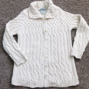 Aran Crafts 100% Merino Wool Cable Cardigan